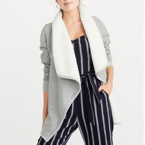 A&F Sherpa Open Front Cardigan, Grey, XS, NEW